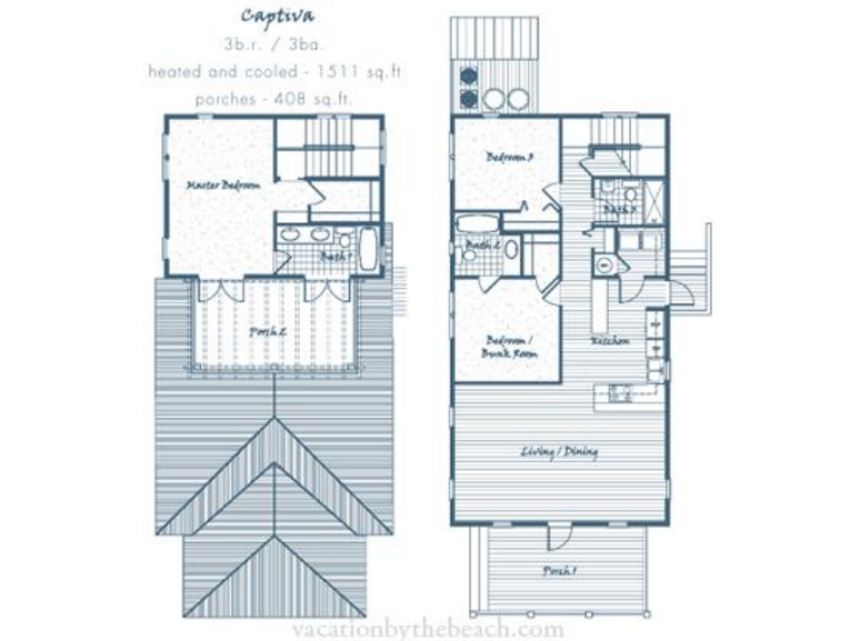 Floor Plan for 9CPL. Lovely Magnolia By The Sea 3 Bedroom 3 Bath Cottage