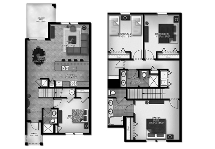 Floor Plan for 8952MP. 4 Bed 3 Bath Town Home In The Stunning Paradise Palms Resort