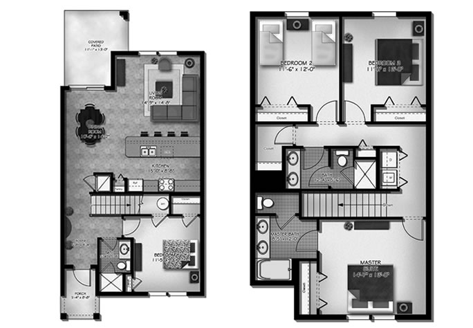 Floor Plan for 8972COCO. 4 Bedroom 3 Bath Town house in Kissimmee Resort