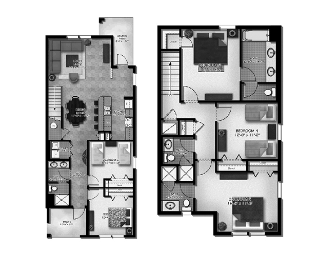 Floor Plan for 8951COCO. Gorgeous 5 Bed 4 Bath Townhome with Splash Pool in Paradise Palms
