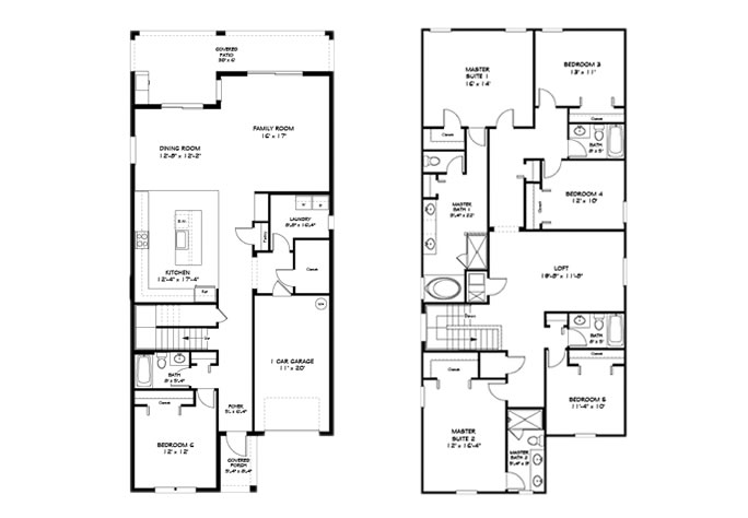 Floor Plan for 2960BPR. Gorgeous 6 Bed 5 Bath Pool Home In The Stunning Paradise Palms Resort