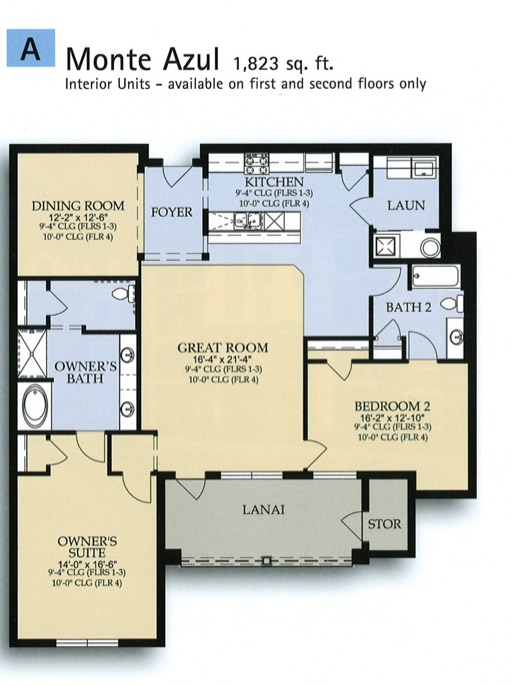 Floor Plan for 4840CA-201. Spacious Luxury 2 Bedroom Condo Near All Parks and Convention Center