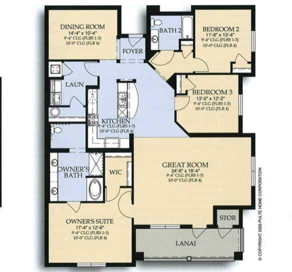 Floor Plan for 4840CA-108. 1st Floor 3 Bedroom 2 Bath Condo in Vista Cay