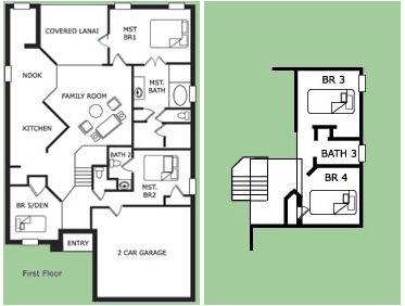 Floor Plan for 8038KPC. 5 Bedroom 3.5 Bath Pool and Spa Home in Kissimmee Resort