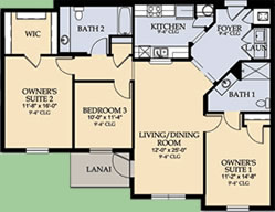 Floor Plan for 8107CPW-305. 3 Bedroom 2 Bath Condo With All the Comforts of Home