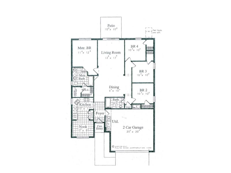Floor Plan for 8159FPW. 4 Bedroom Pool Home Minutes From all the Major Attractions
