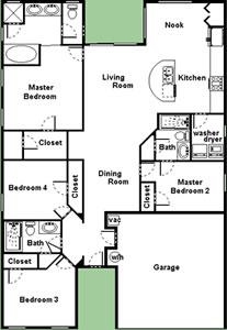 Floor Plan for 8190FPW. Spacious 4 Bedroom 3 Bath Pool Home Close to Disney