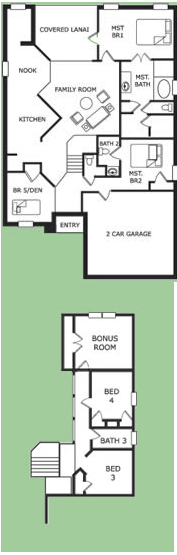 Floor Plan for 8167SPD. Gated Resort 6 Bed 4 Bath with South Facing Pool