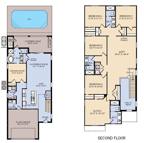Floor Plan for 9026RS. Amazing 6 Bedroom 4.5 Bath Windsor at Westside Resort Pool Home