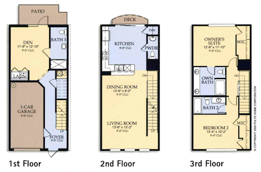 Floor Plan for 8012CBD-101. 3 Story Vista Cay Resort Townhouse Minutes From All Parks